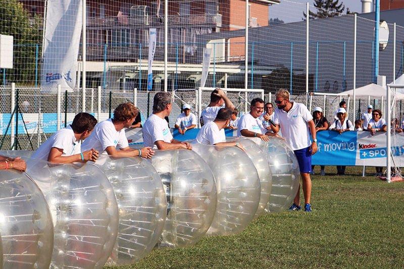 Zorb soccer corporate event for Ferrero